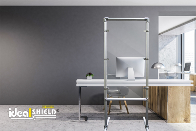 Ideal Shield's Stand Up Sneeze Guard in Aluminum for desk partitions