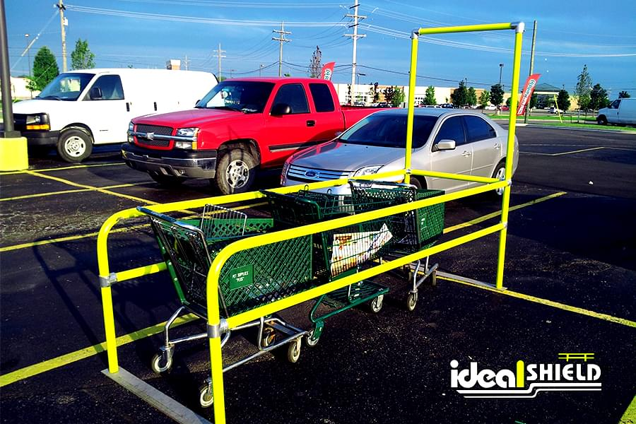 Ideal Shield's yellow parking lot grocery cart corral