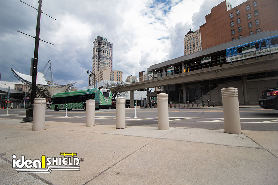 """Ideal Shield's 10"""" Cinco Decorative Bollard Covers in Downtown Detroit"""