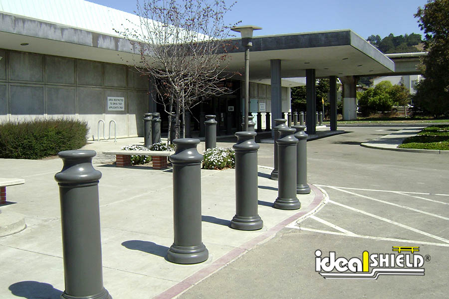 10-Inch-Pawn-Decorative-Bollard-Covers-Gray-Office-Building