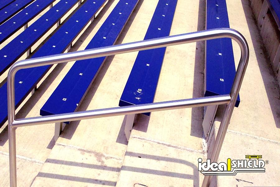 Ideal Shield's Steel Handrail designed for Stadium Stairs