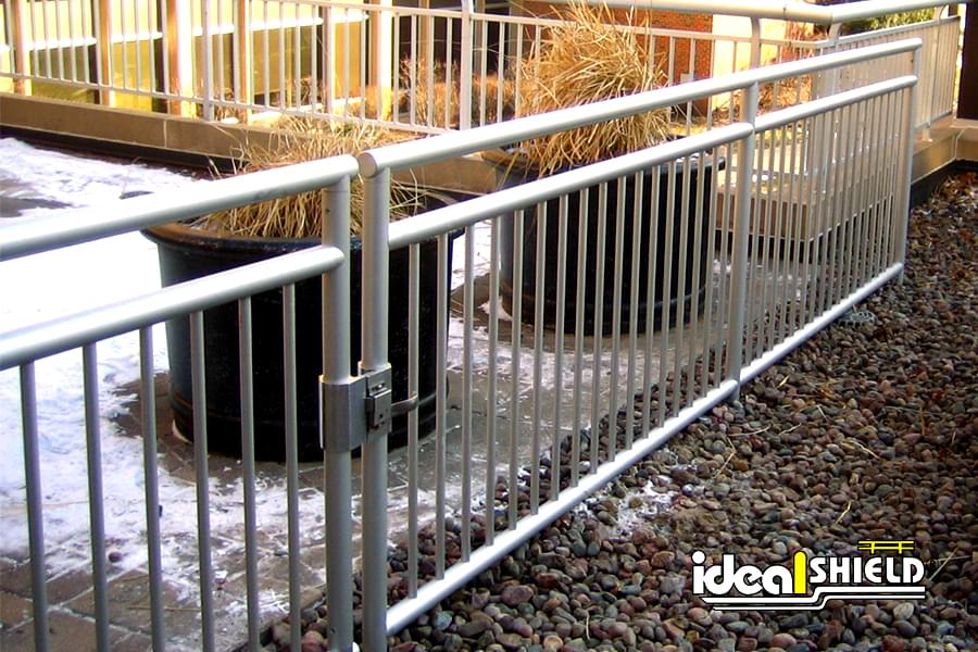 Ideal Shield's Aluminum roof fall protection railing with picket infill