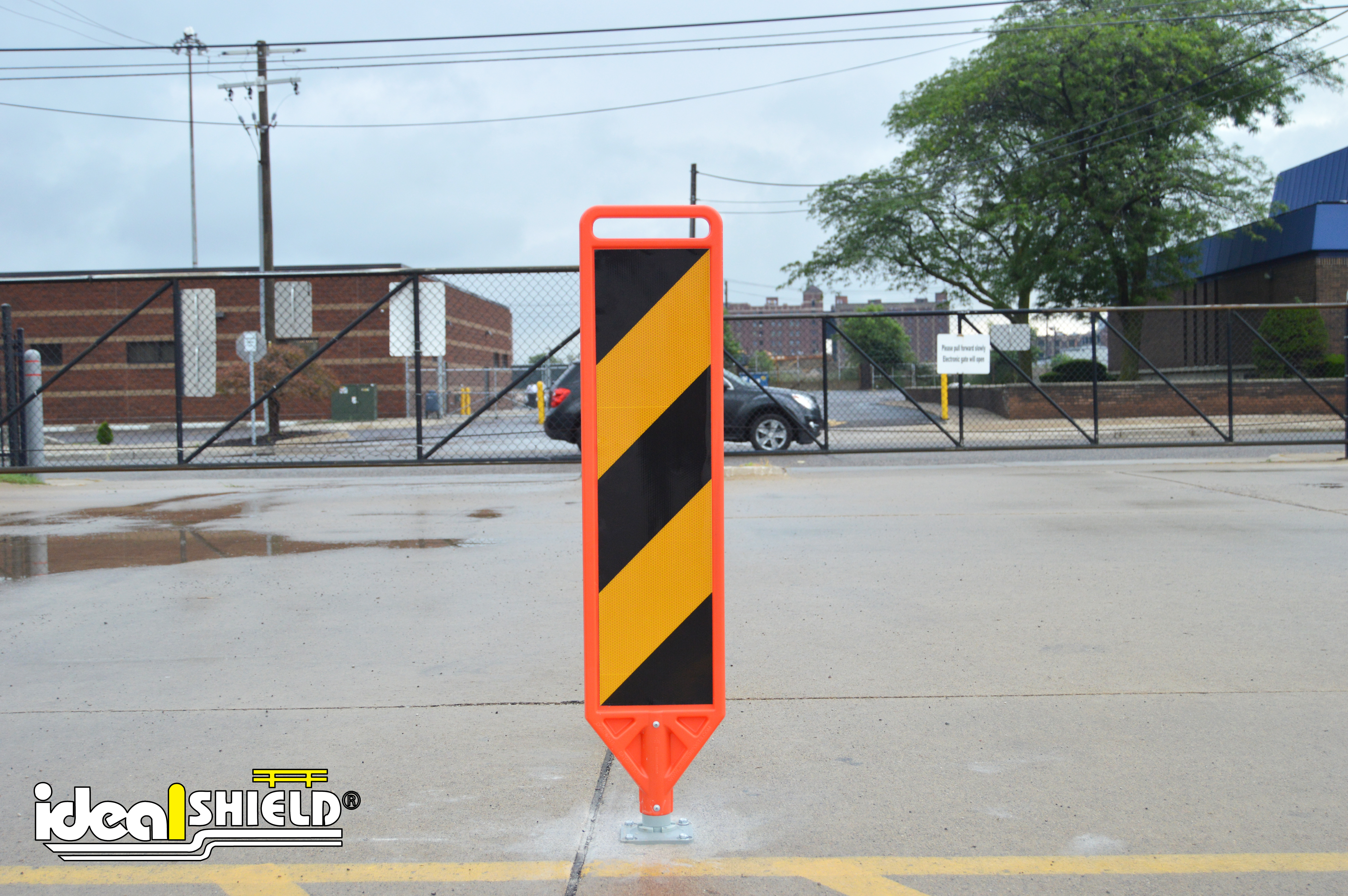 Ideal Shield's Removable Delineator Paddle for crosswalk