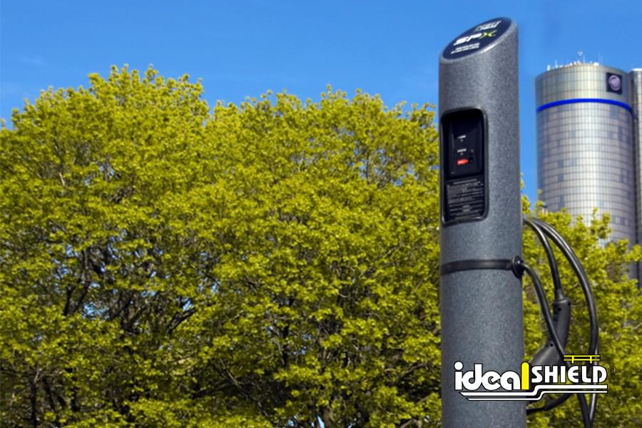 Ideal Shield's Electric Vehicle Charging Stations with custom logo
