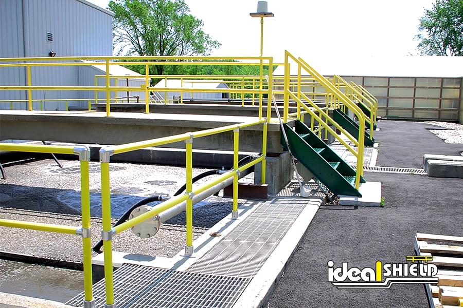 Ideal Shield's pipe & plastic roof fall protection railing with staircase handrail