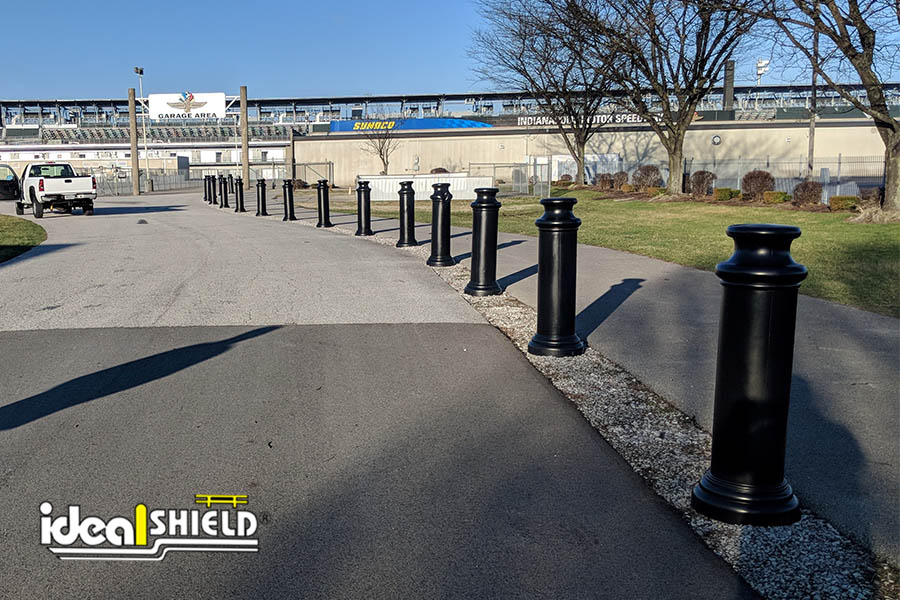 """Ideal Shield's 10"""" Black Pawn Decorative Bollard Covers at Indianapolis speedway"""