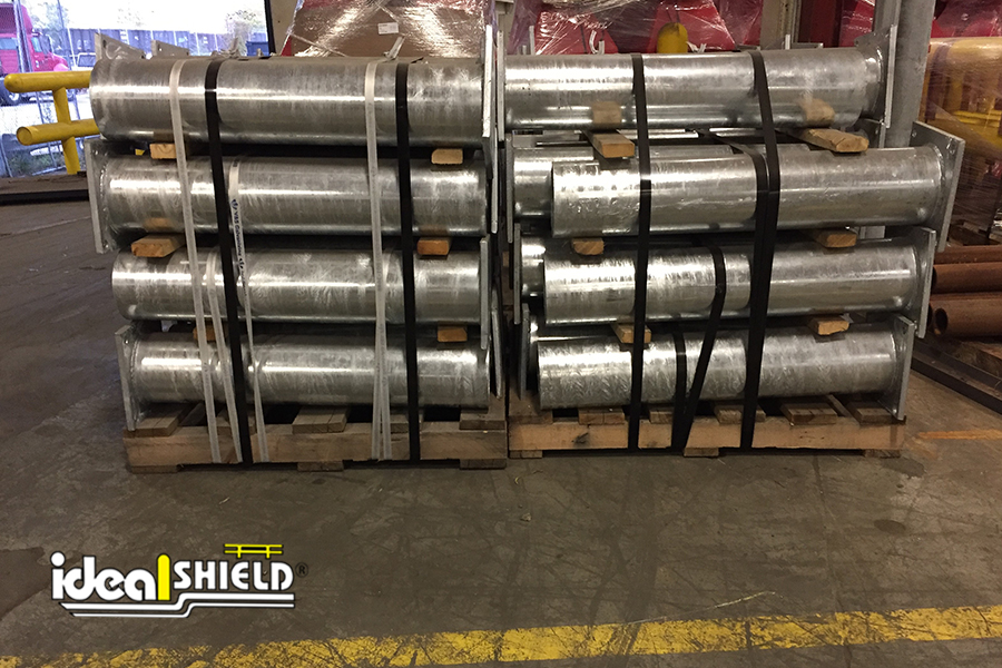 Ideal Shield's Base Plated Bollards ready to be shipped