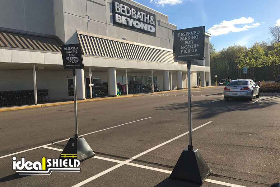 Ideal Shield's Black Sign Bases used for designated parking at Bed Bath & Beyond