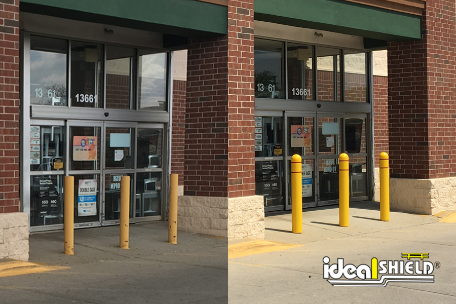Before and After shot of Bollard Post with and without Bollard Covers