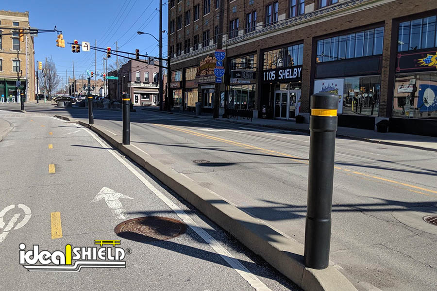 """Ideal Shield's  6"""" Architectural Cover used for bike lane protection"""