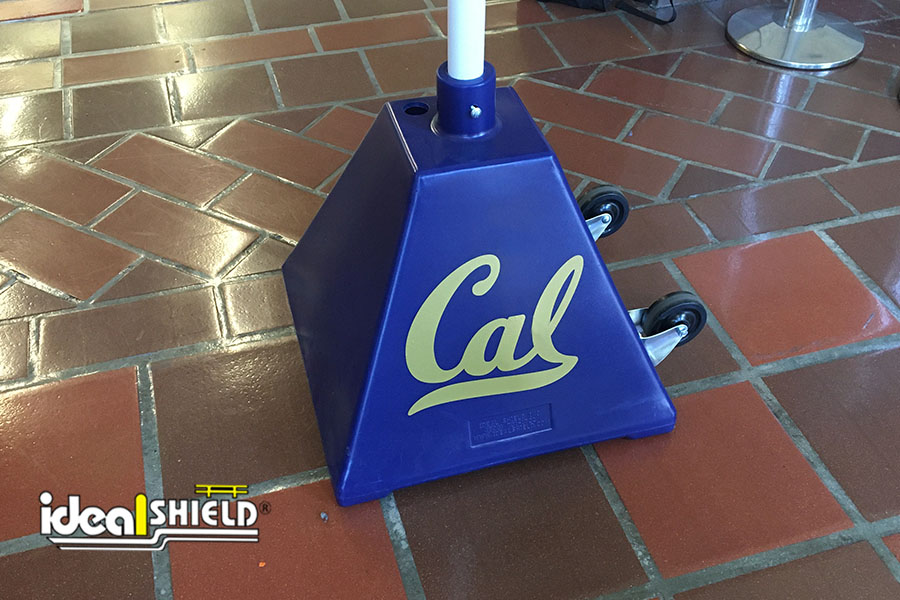Ideal Shield's blue Pyramid Sign Bases with custom decals for the University of California