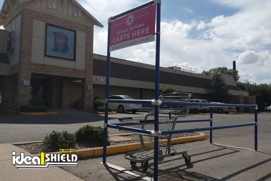 Ideal Shield's blue Cart Corral at Braum's grocery store