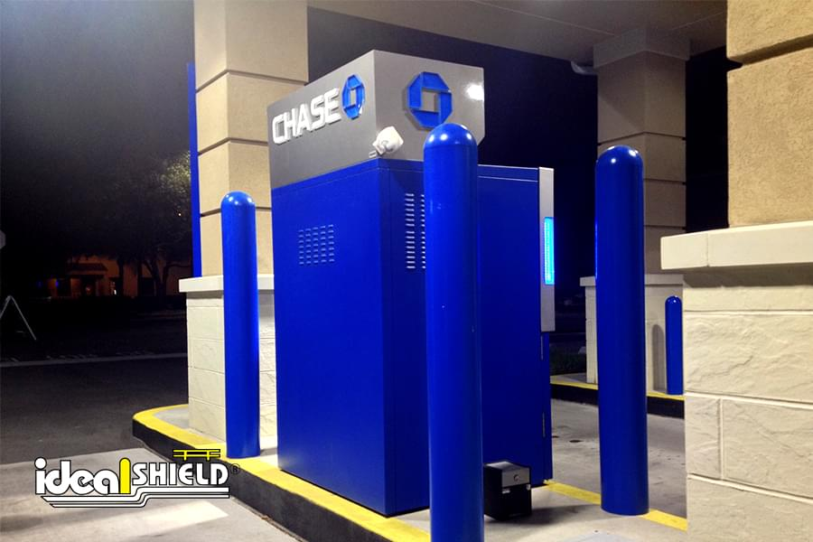 """1/4"""" Custom Color Bollard Covers at a Chase Bank ATM"""