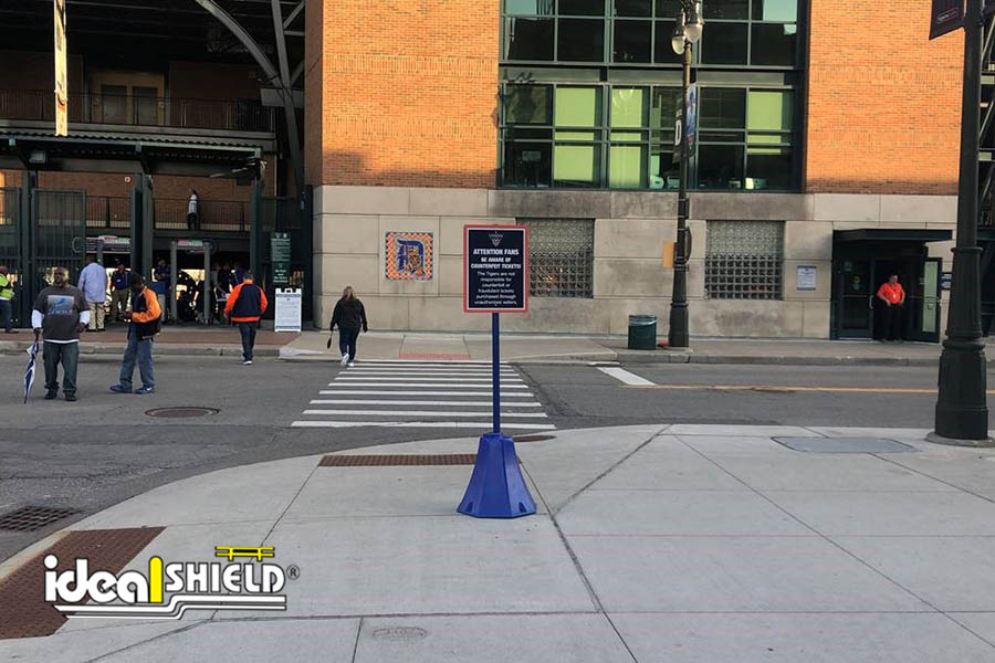 Ideal Shield's blue Octagon Sign Base at Comerica Park in Detroit, Michigan