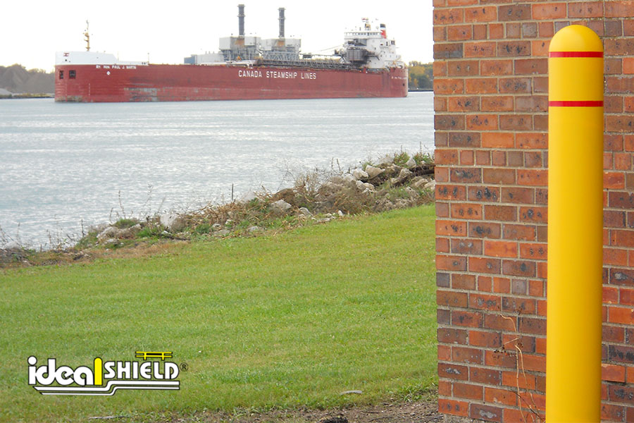 Ideal Shield's Reflective Bollard Covers with Red Tape