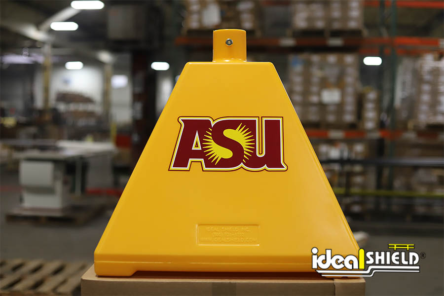 Ideal Shield's Yellow Pyramid Sign Base with custom Arizona State University decals
