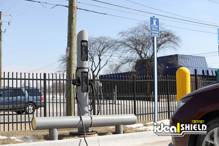 Ideal Shield's EV Charging Station with one-line guardrail in front