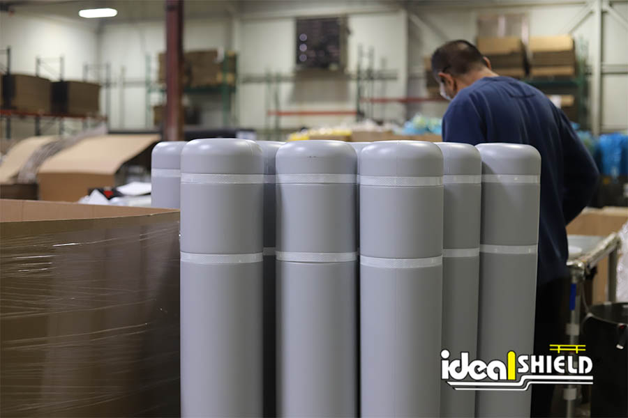 Flat Top Bollards Gray with white reflective tape