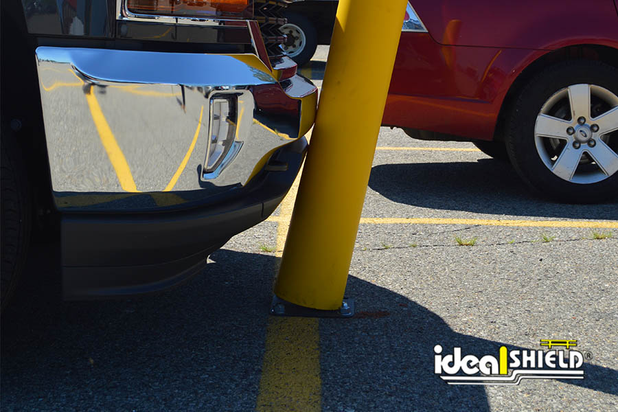 Close up of Ideal Shield's Flexible Bollard being impacted by a truck