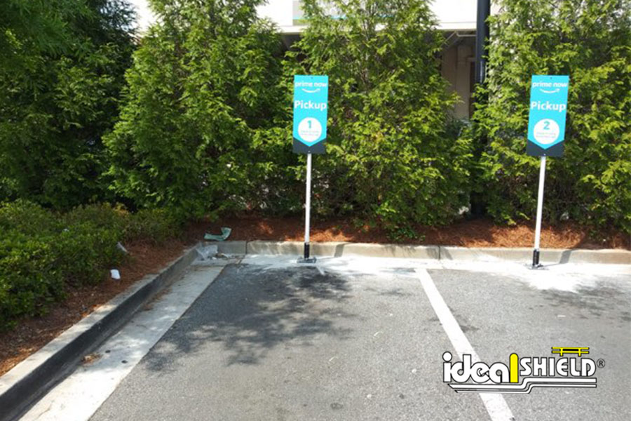 Ideal Shield's Flex Stick Sign Systems for designated parking spots