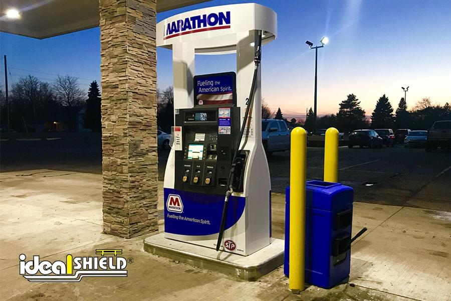 "Ideal Shield's 1/8"" Bollard Covers at Marathon gas station"
