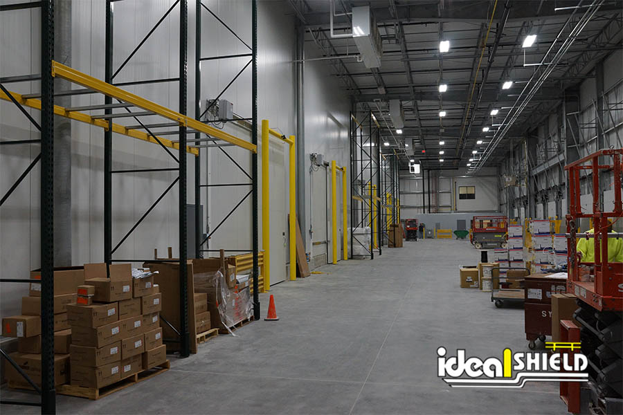 Ideal Shield's Goal Post Guardrails in a warehouse