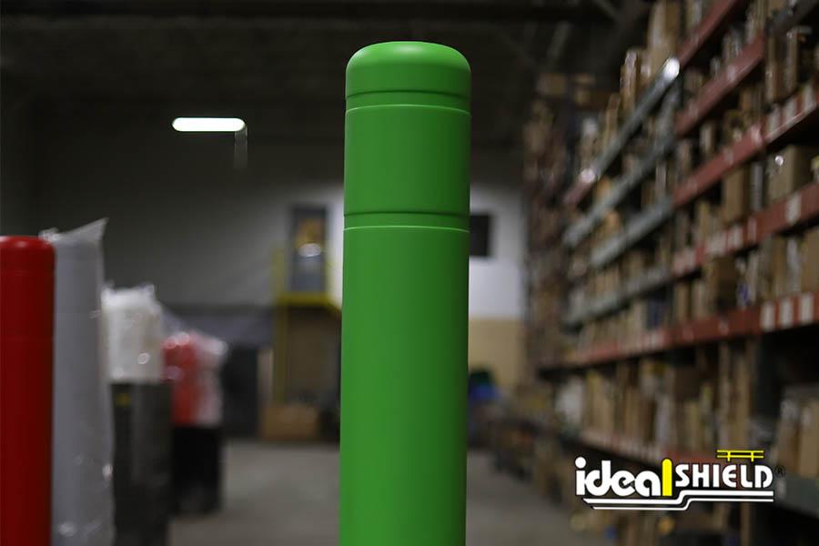 Ideal Shield's custom green Flat Top Bollard Covers