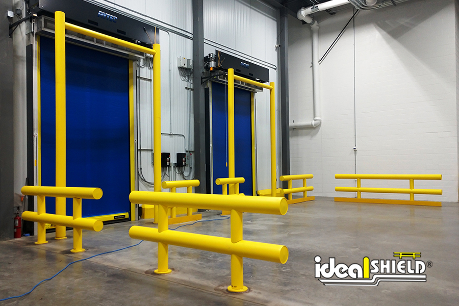 Ideal Shield's Heavy Duty Guardrail and Goal Post Guardrails protecting overhead doors at a cold storage facility