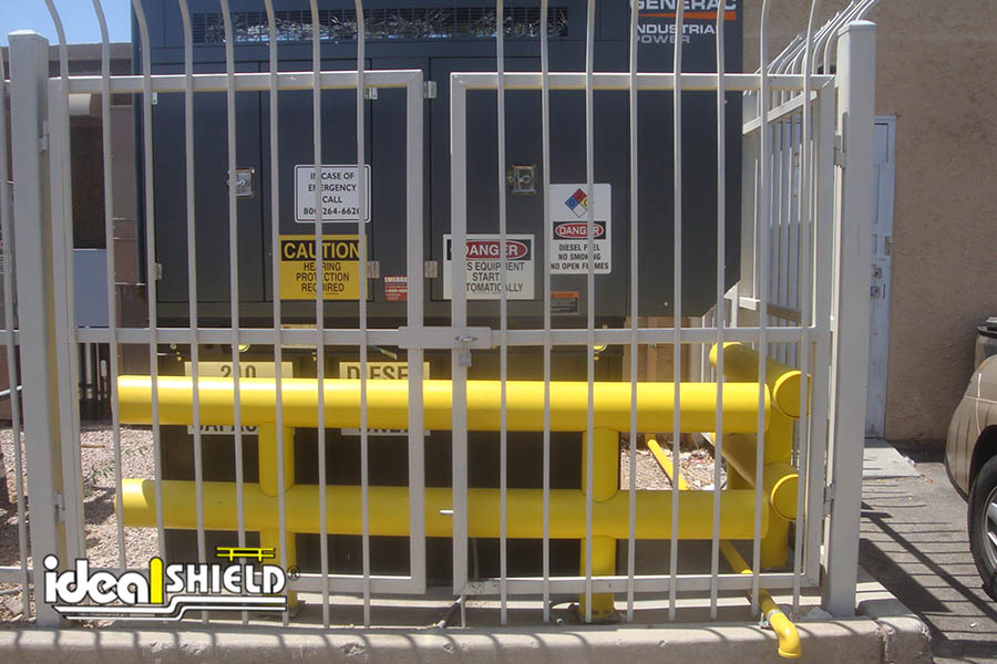 Ideal Shield's Two-Line Yellow Heavy Duty Guardrail used to protect large facility generator