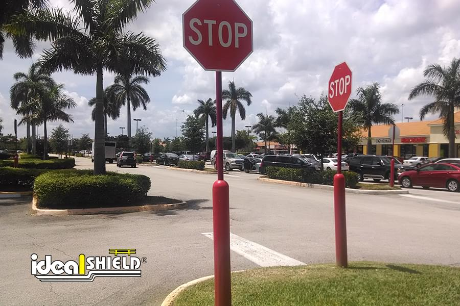 Ideal Shield's red Bollard Sign Systems used for stop signs