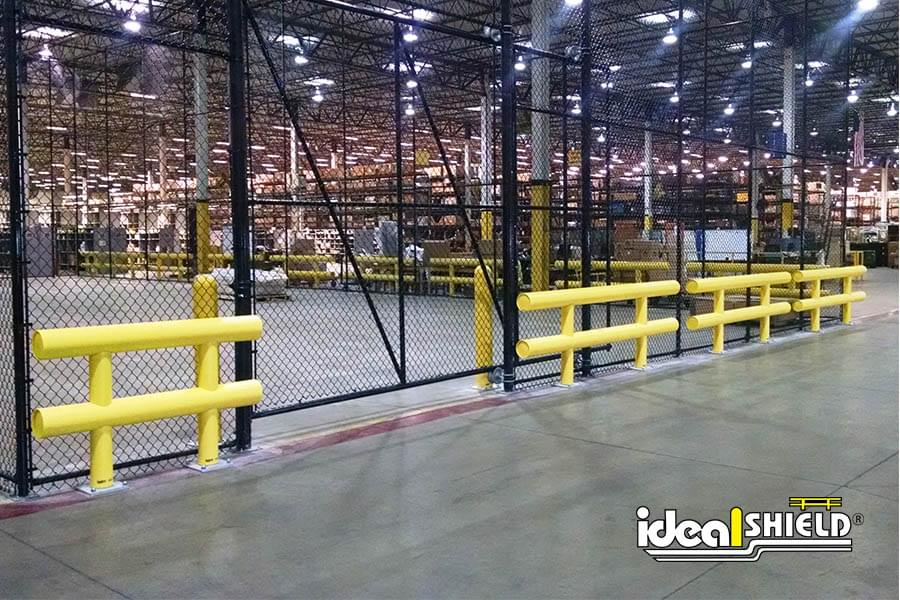 Ideal Shield's Two Line Standard Guardrail Protecting Warehouse Enclosure