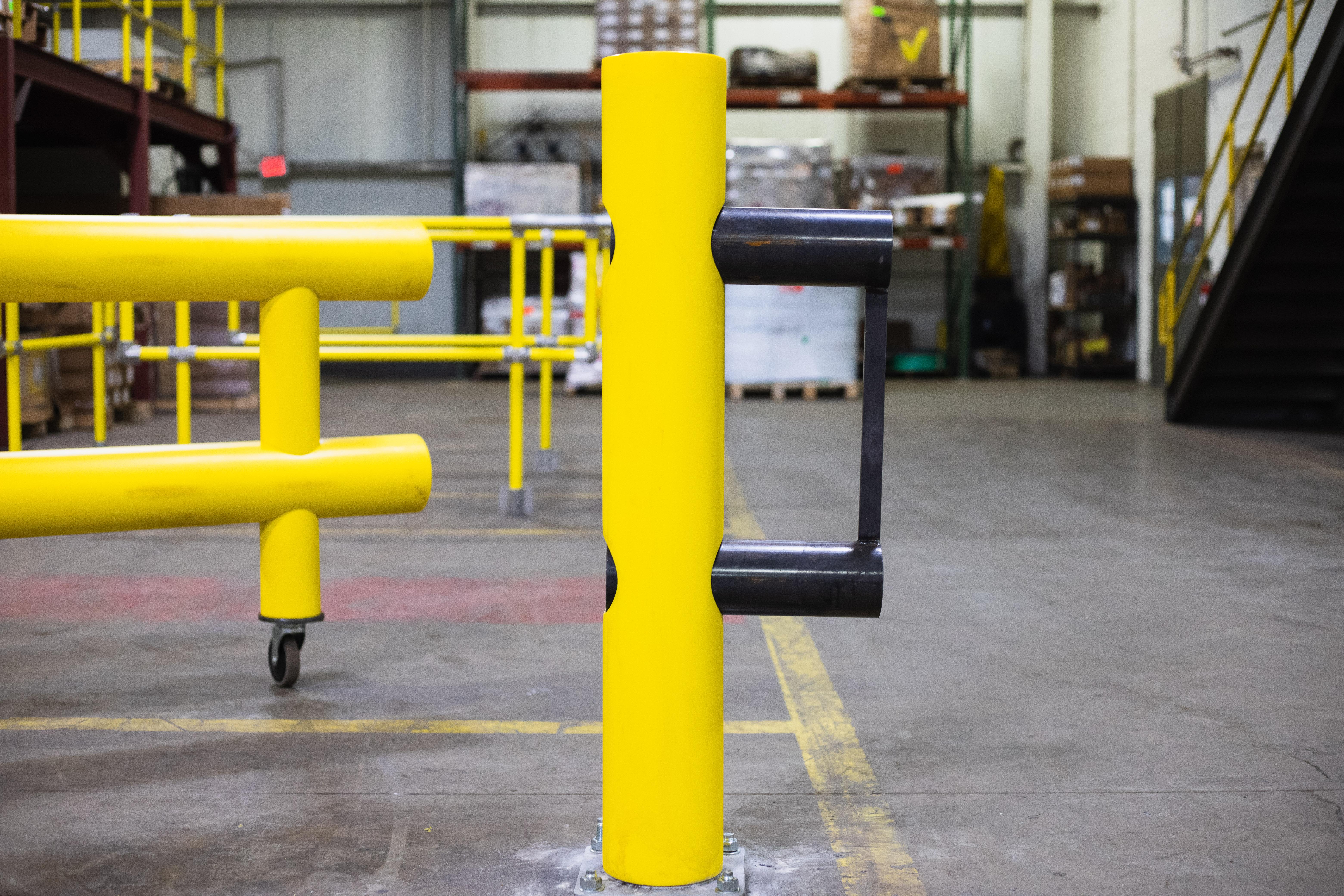 Ideal Shield's Heavy Duty Guardrail Swing Gate locking pin opened