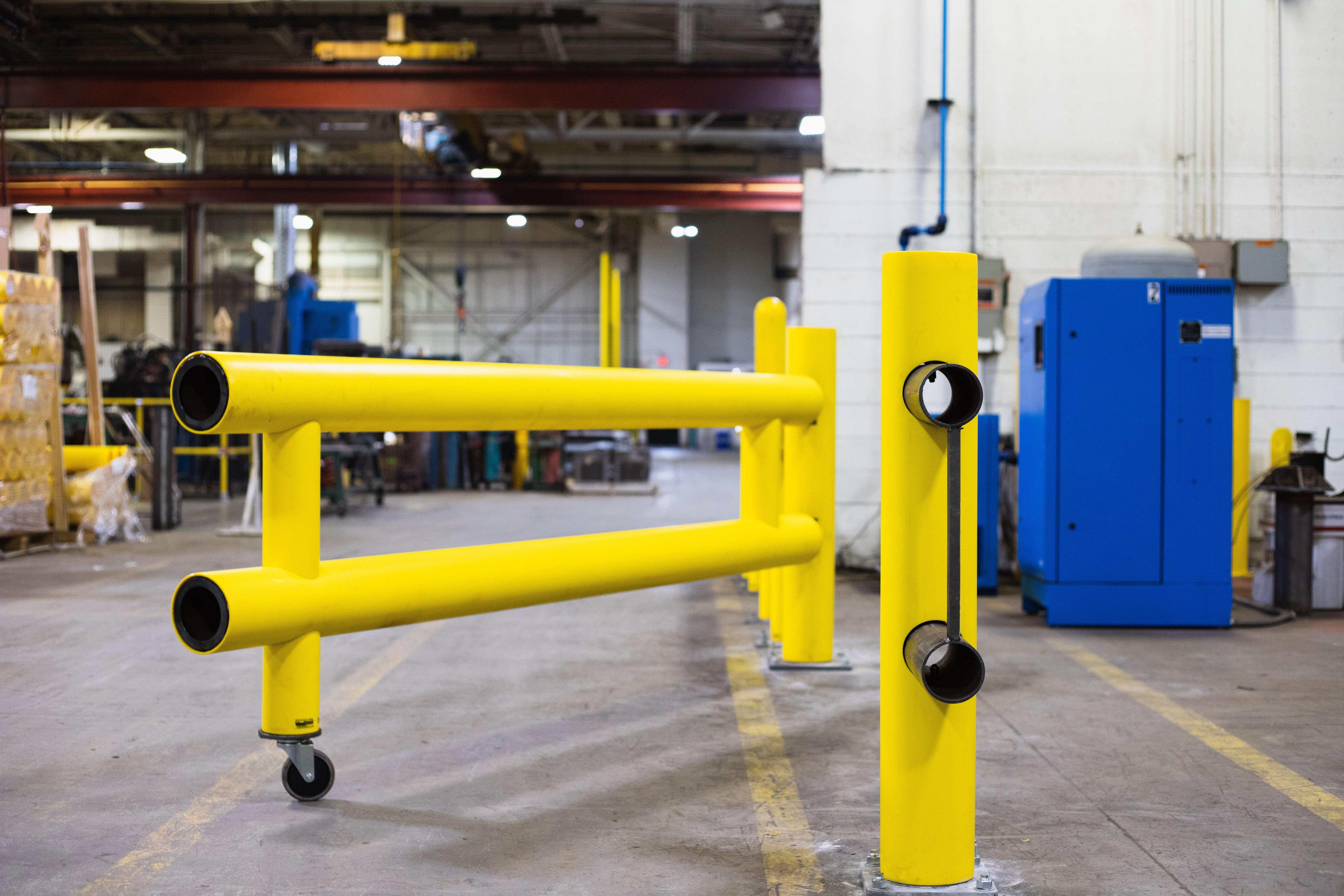 Ideal Shield's Heavy Duty Guardrail Swing Gate locking pin open