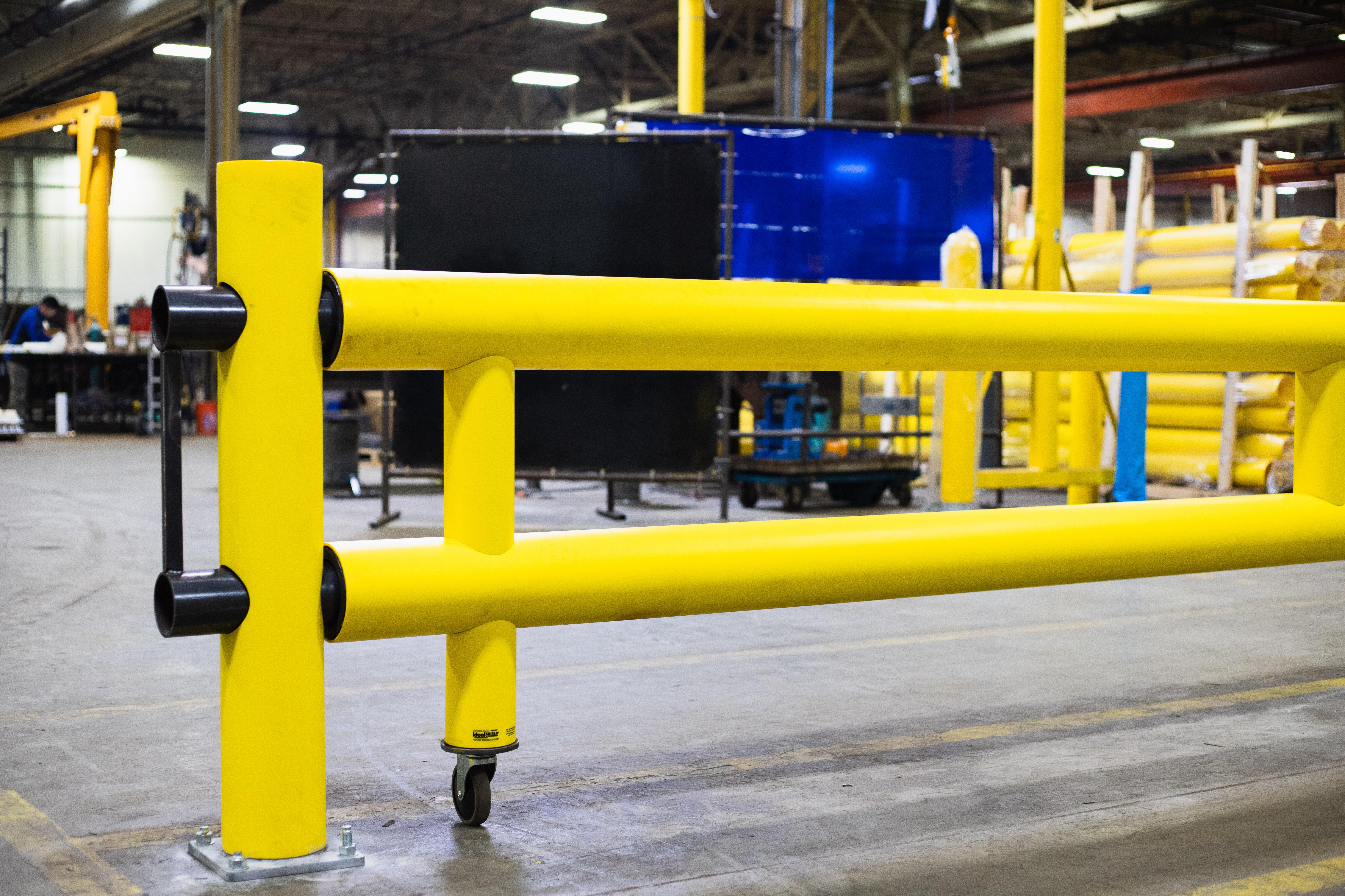 Ideal Shield's Heavy Duty Guardrail Swing Gate locking pin locked