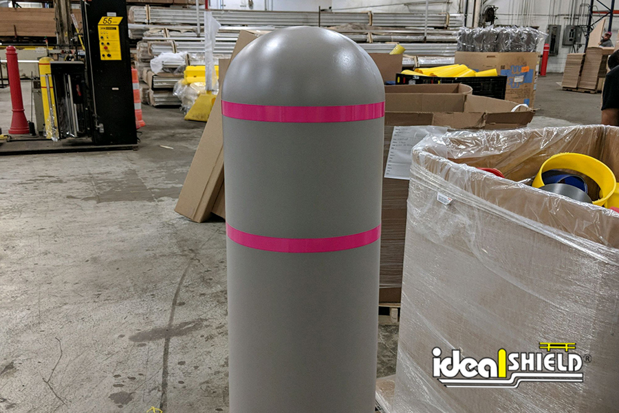 Ideal Shield's Gray and Pink Striped Reflective Bollard Cover