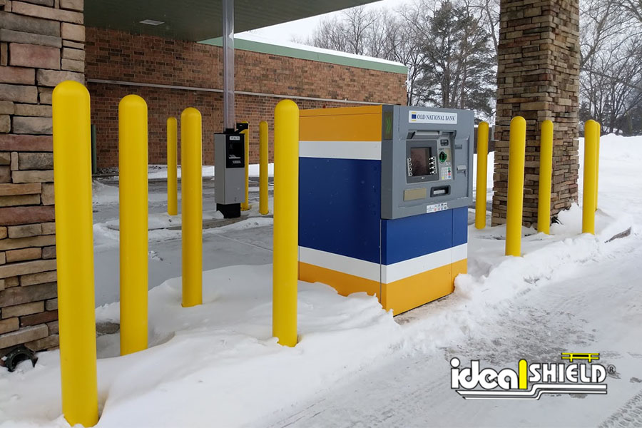 """Ideal Shield's Yellow 1/8"""" Bollard Covers at Old National Bank ATM"""