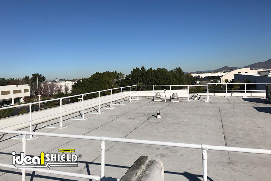 Ideal Shield's Roof Fall Protection Railing powder coated in white
