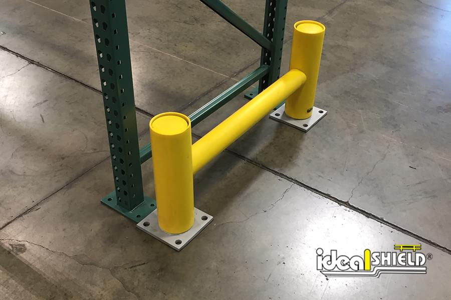 Ideal Shield's Yellow  Rack Guard System with Base Plates for Warehouse Pallet Rack Protection