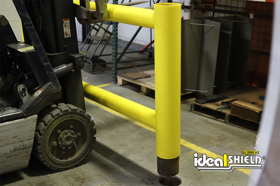 Ideal Shield's Two-Line Rack Guard with Core & Drop option being installed
