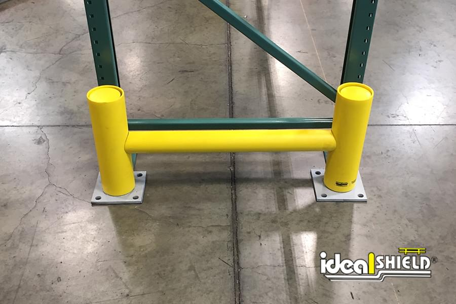 Ideal Shield's Heavy-Duty Rack Guard System with Base Plates for Warehouse Pallet Rack Protection
