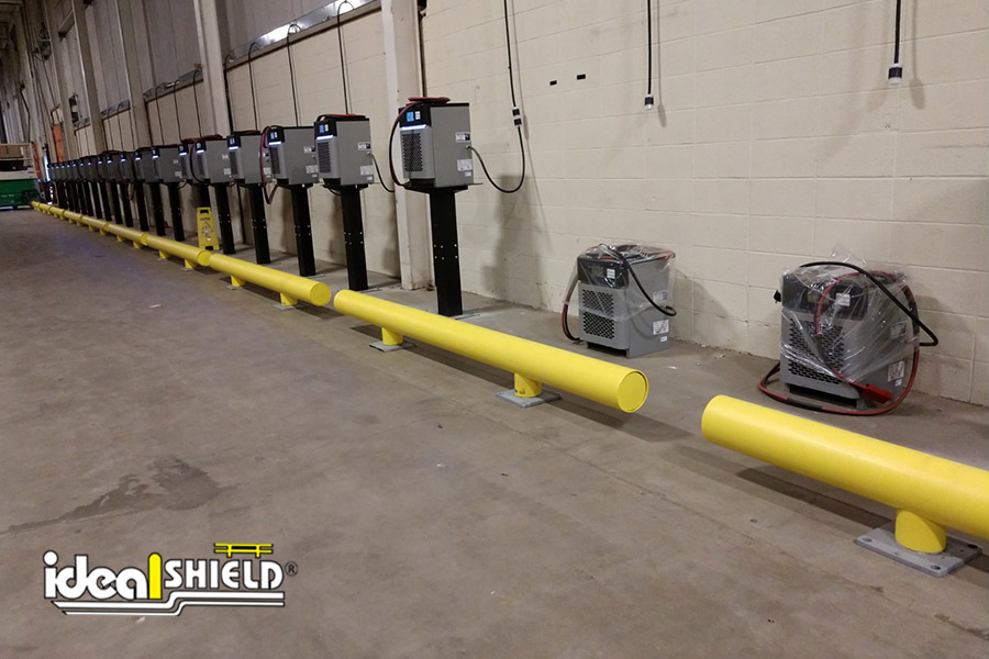 Ideal Shield's Heavy Duty One-Line Guardrails used for truck tire stoppers