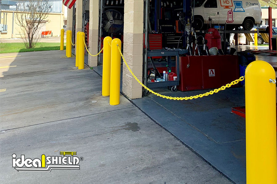 """Ideal Shield's 1/4"""" Bollard Covers with Plastic Chain additions"""