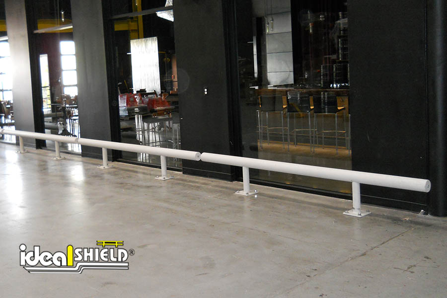 Ideal Shield's One-Line Standard Guardrail sleeved in white plastic
