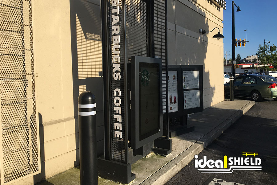 Ideal Shield's Black Covers with white reflective tape for Starbucks drive-thru