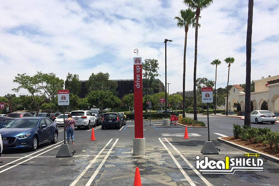 Ideal Shield's Pyramid Sign Bases used for Curbside Pickup at Target