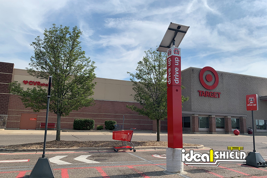 Ideal Shield's Pyramid Sign Base Systems for curbside pickup at Target