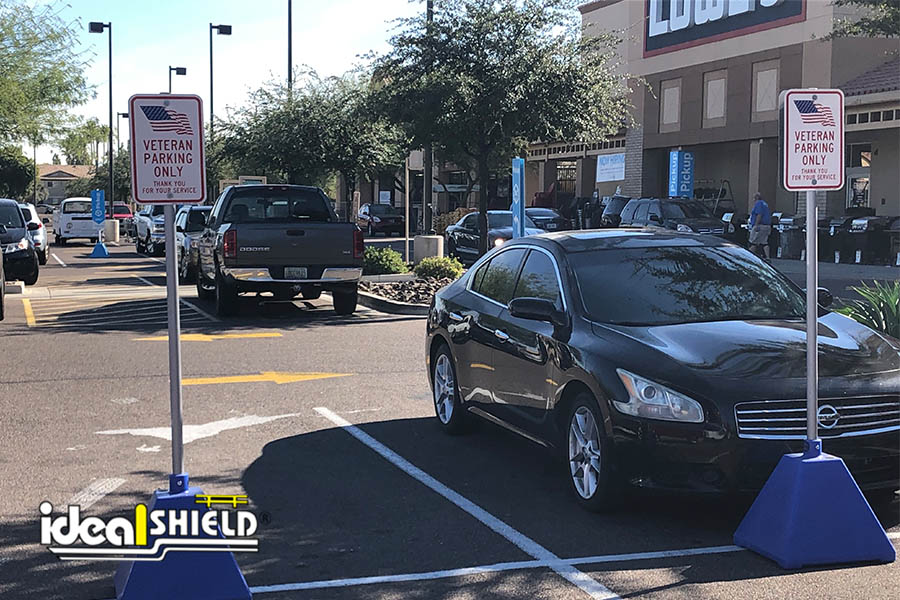 Ideal Shield's Blue Pyramid Sign Bases used for Veteran's Parking at Lowe's