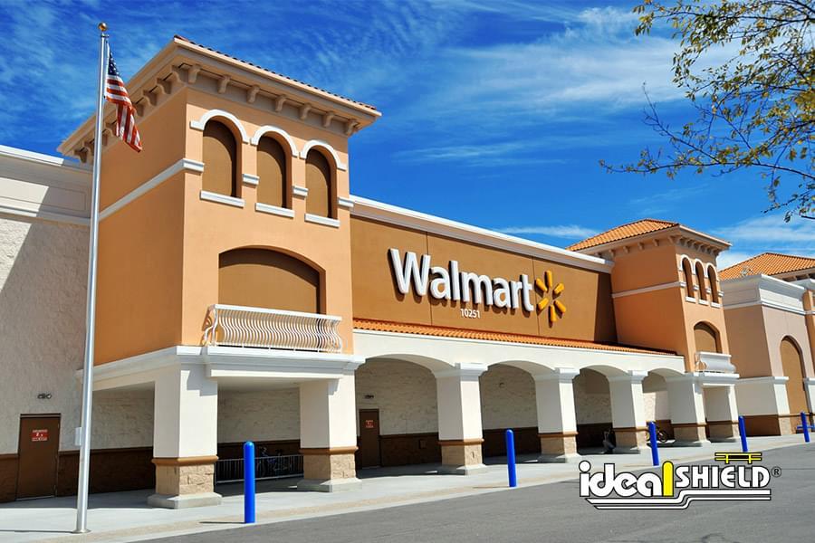 Ideal Shield's 285 Blue Bollard Covers outside of Walmart