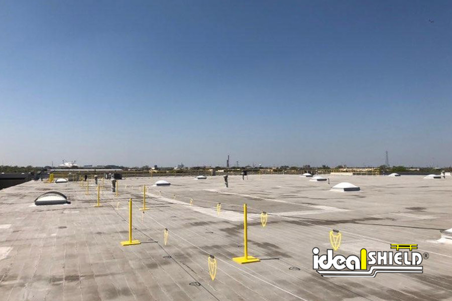 Ideal Shield's Warning Line System on a rooftop