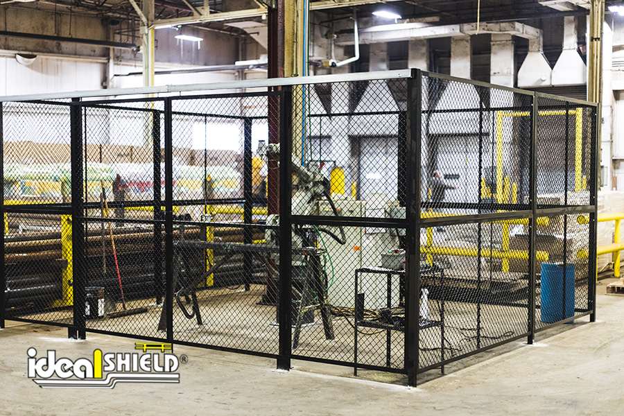 Ideal Shield's Wire Mesh Security Cribbing enclosure for machinery